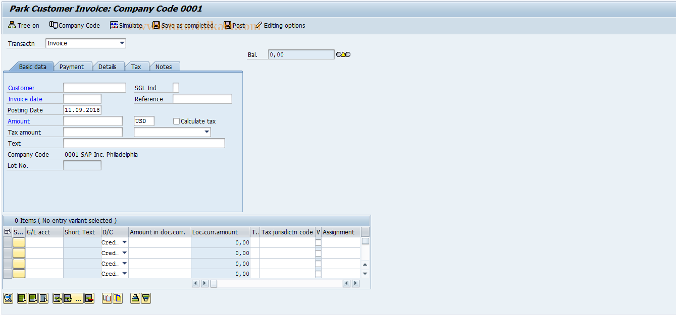 SAP TCode FV70 - Preliminary Entry Outbound Invoices