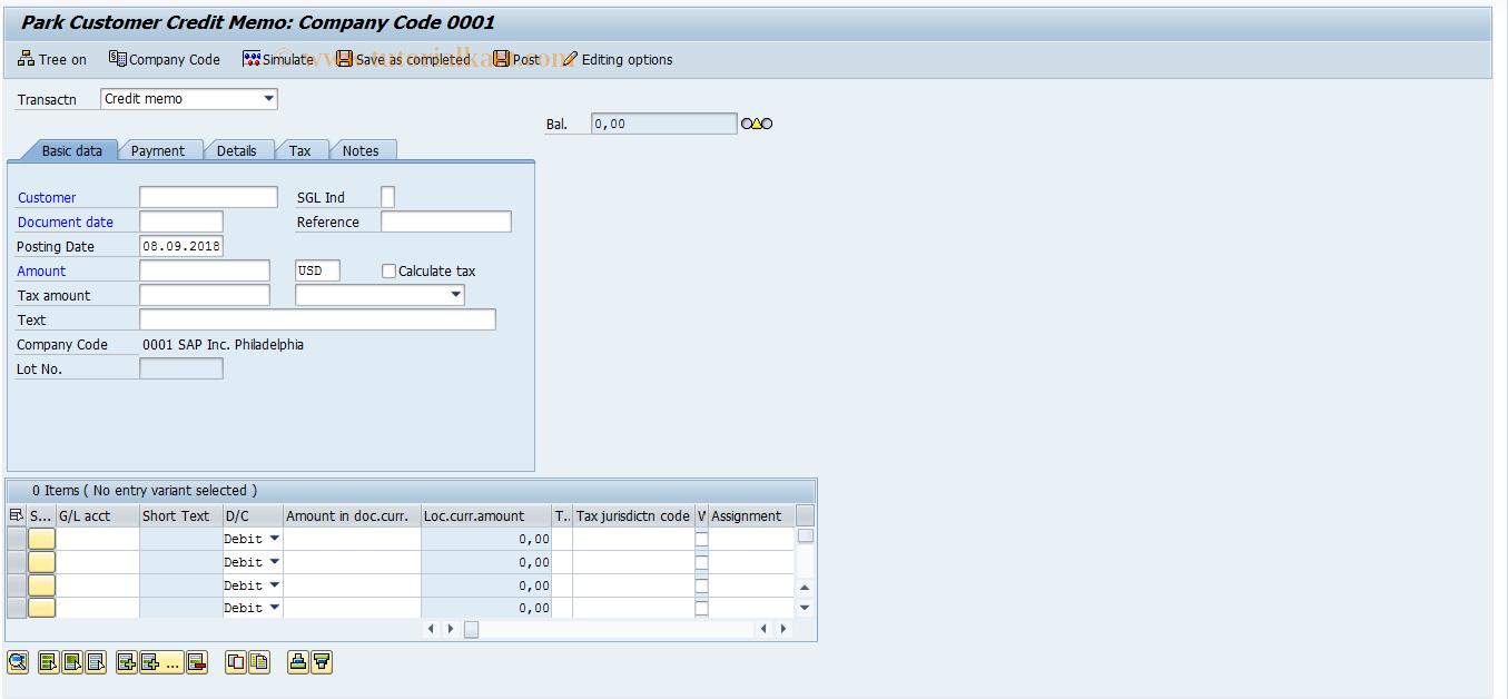SAP TCode FV75 - Park Outgoing Credit Notes