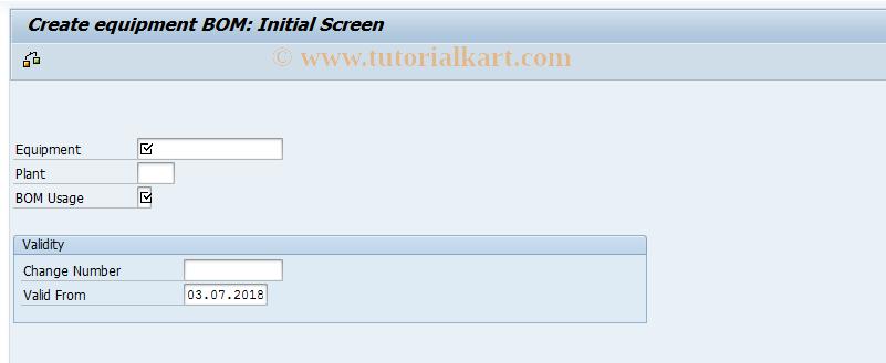 IB01 SAP Tcode : Create Equipment BOM Transaction Code