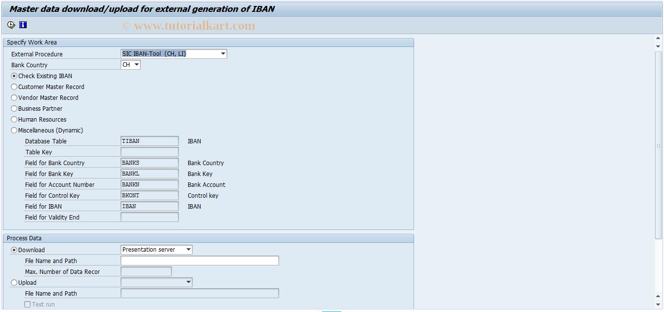 IBANMD SAP Tcode : Generate IBAN Transaction Code