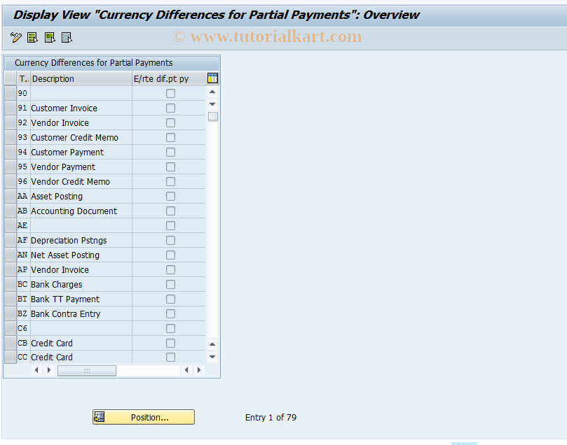 SAP TCode IDPH1 - Currency Diffs for Partial Payments