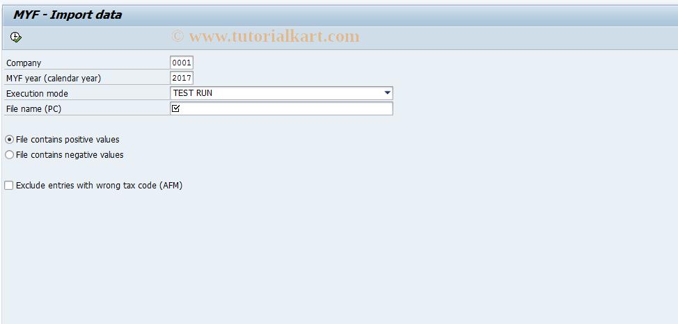 SAP TCode J1G6 - Import MYF data