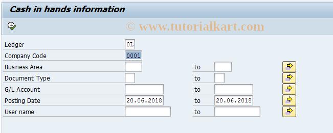 SAP TCode J1GCHL - Cash in hands information