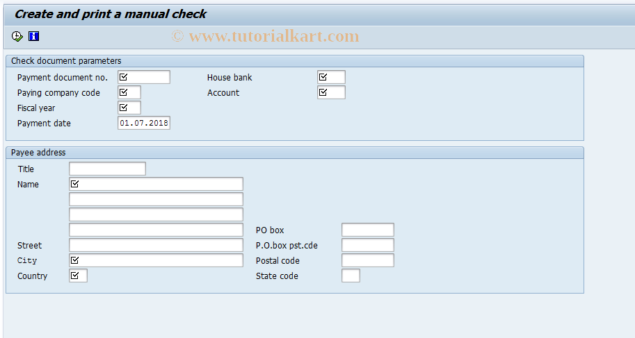 SAP TCode J1GCKCP0 - Create and print G/L Account checque