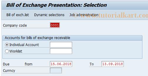 SAP TCode J1GFBWE - Bill/Exch.Presentation -Greek