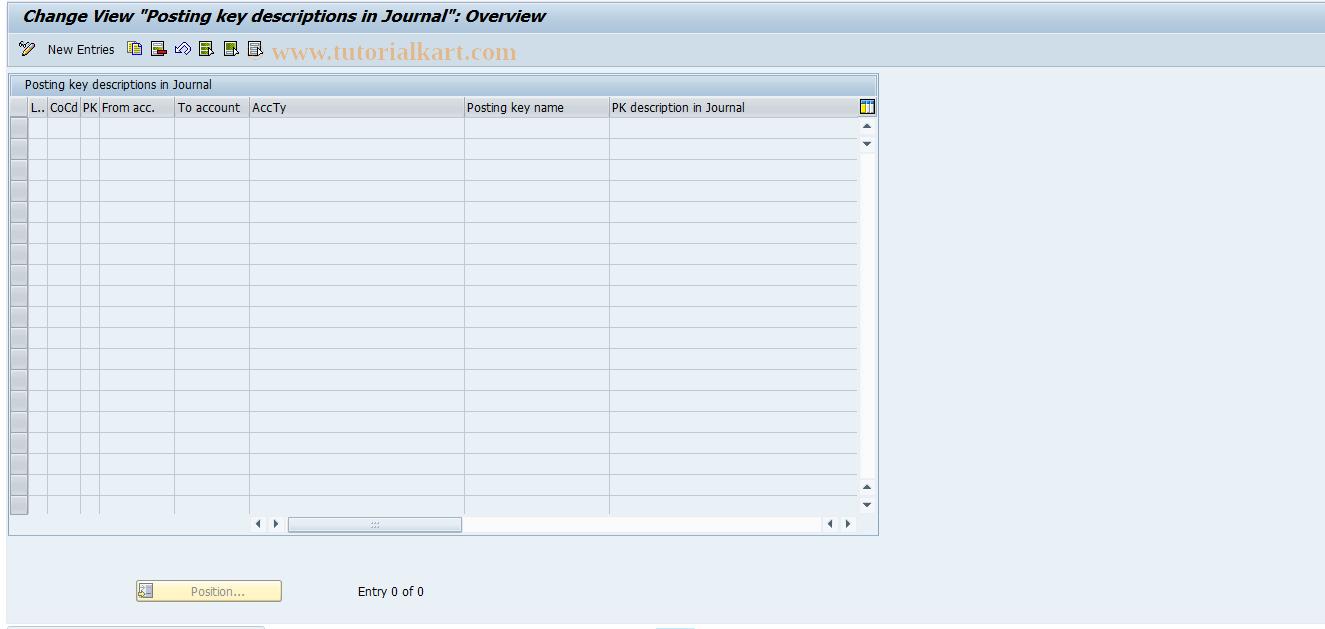SAP TCode J1GJR2 - Posting keys