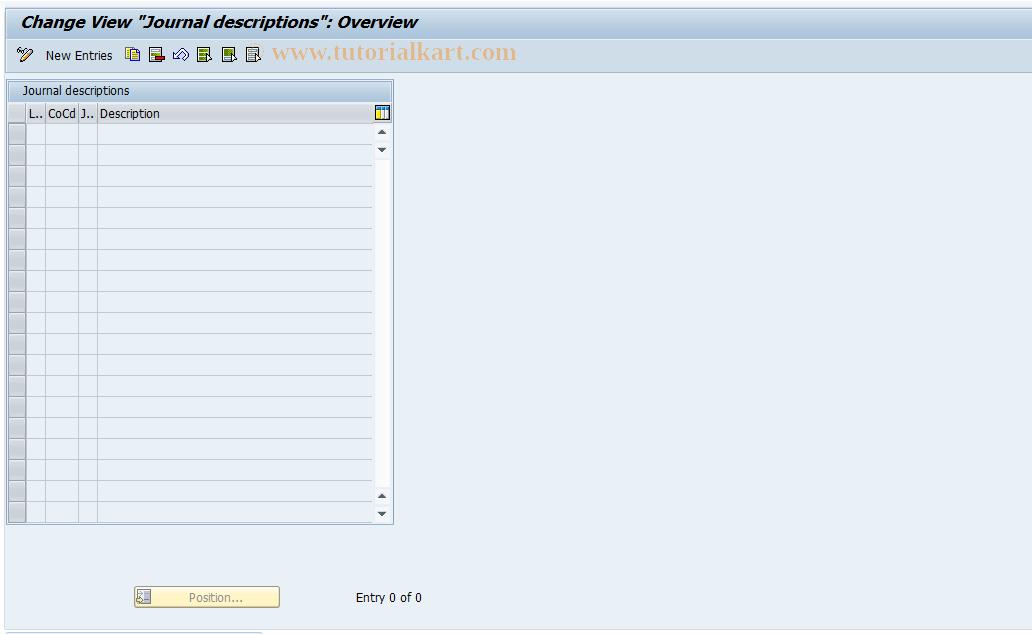 SAP TCode J1GJR4 - Journal descriptions