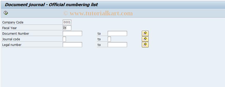 SAP TCode J1GJR7 - Legal numbers list