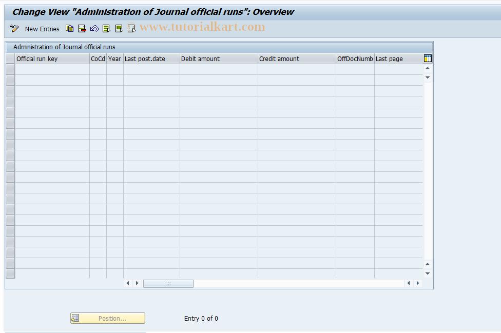 SAP TCode J1GJR9 - Control table