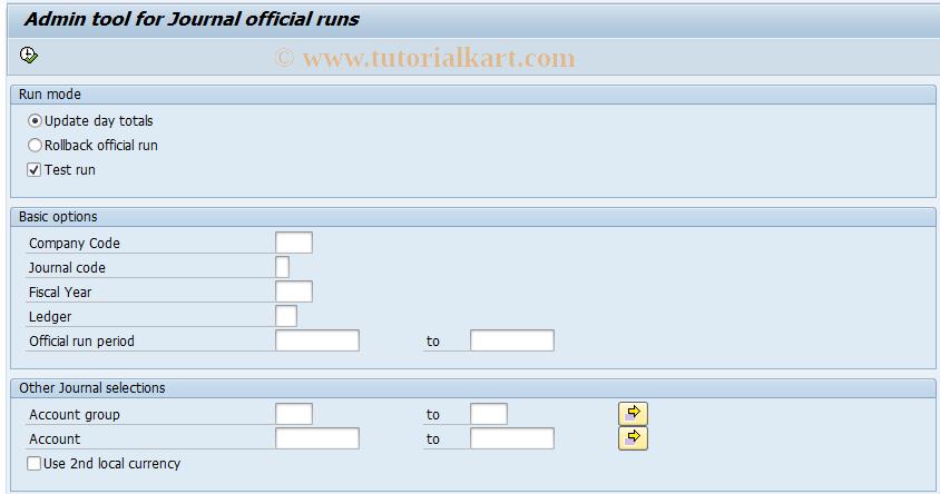 SAP TCode J1GJRA - Admin tool for Journal official runs