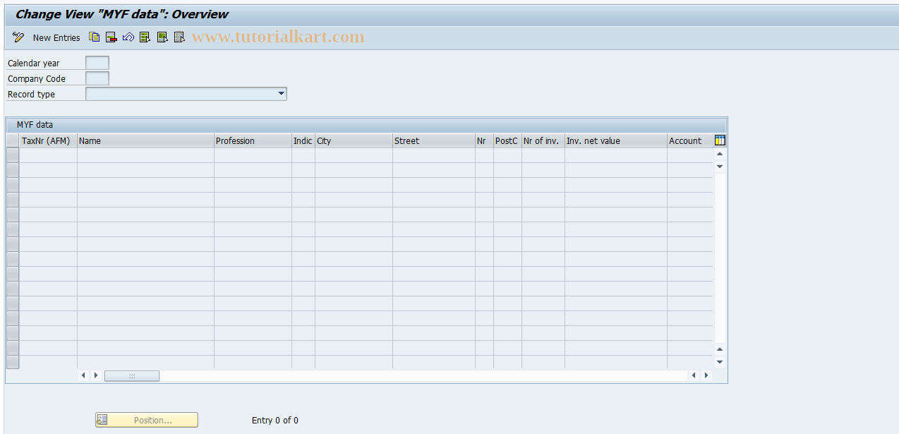 SAP TCode J1GP - Edit MYF data
