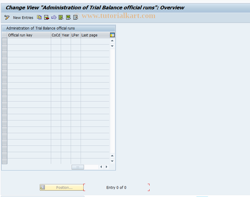 SAP TCode J1GTBC - Control table