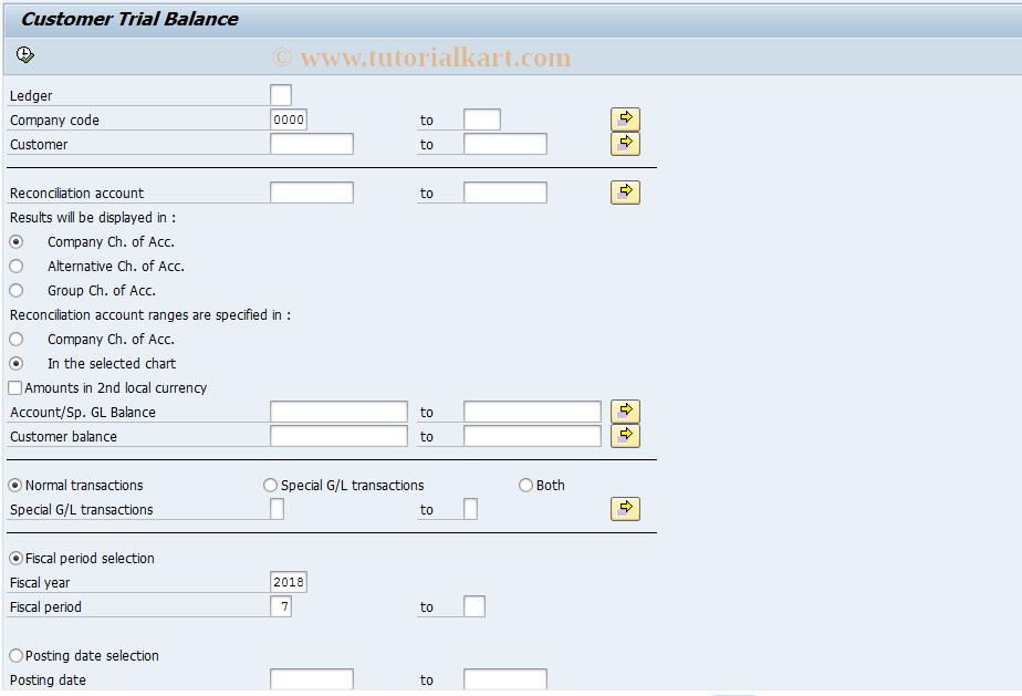 SAP TCode J1GTBD - Customer Trial Balance