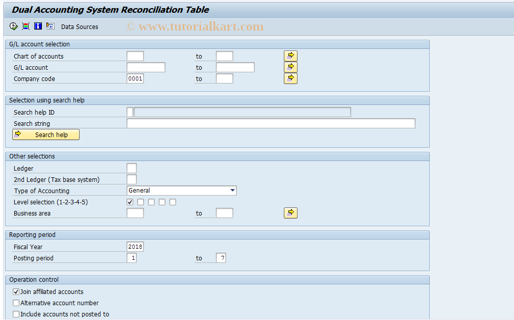SAP TCode J1GTDL - Dual Acc.System Reconcil.Table