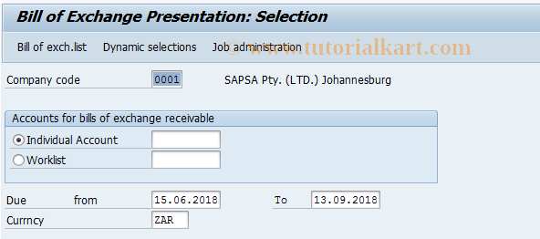 SAP TCode J1GX - Bill/Exch.Presentation -Greek