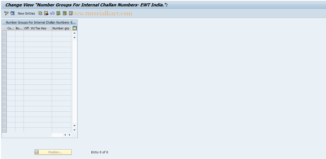 SAP TCode J1INUM - Number Group for Internal Challan No