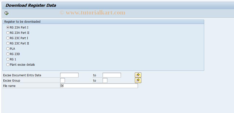 SAP TCode J1IR - Data Download