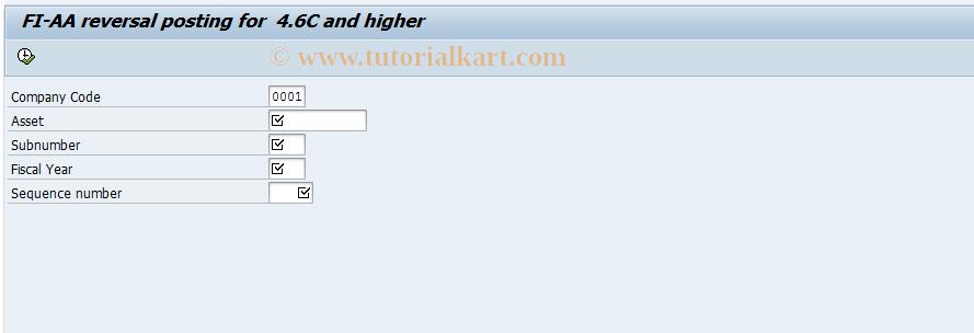 SAP TCode J1UFAB08 - FI-AA reversal documet posting 4.6C