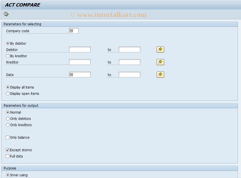 SAP TCode J1UFCOMP - Act compare