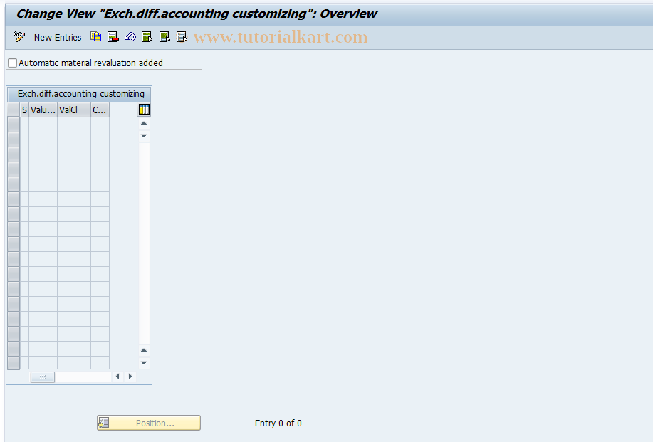 SAP TCode J1UFMR - Customizing for exch.diff.accounting