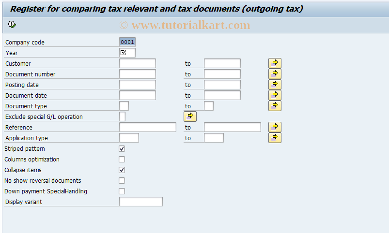 SAP TCode J1UFRVN - Check list for outgoing tax vouchers