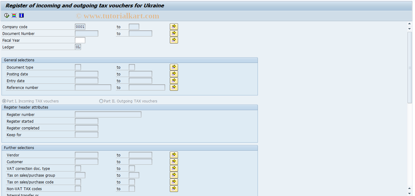 SAP TCode J1UF_IN_OUT - Register incom./outgoing tax voucher