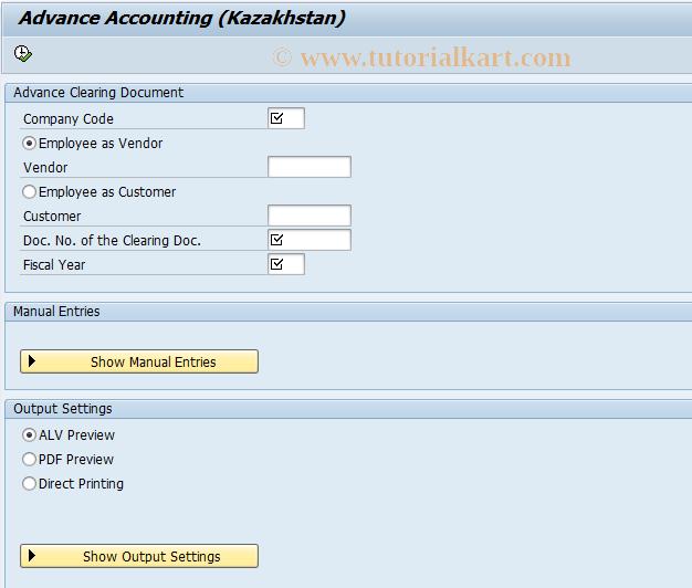 SAP TCode J5KFHLFADAC - Advance Accounting
