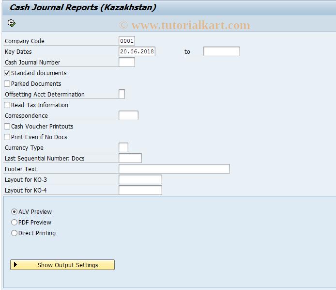 SAP TCode J5KFHLFCASH15 - Cash Journal Reports