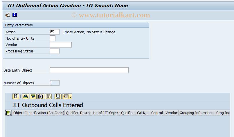 JITO6 SAP Tcode : Bar Code Entry Transaction Code