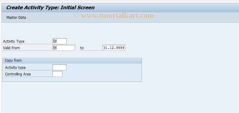 KL01 SAP Tcode : Create Activity Type Transaction Code