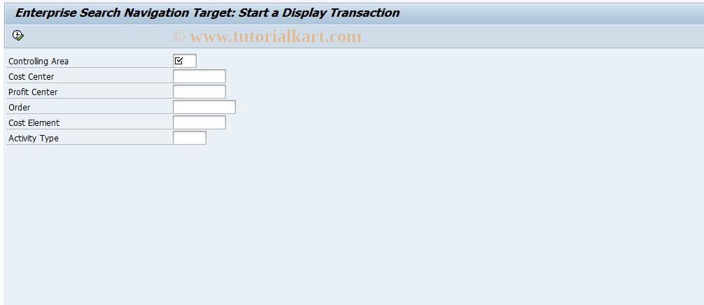 SAP TCode KXX3 - Start a CO Display Transaction