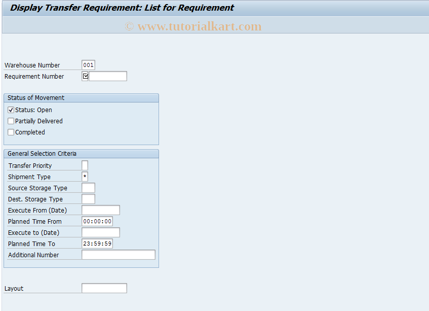 LB13 SAP Tcode : TRs for Requirement Transaction Code