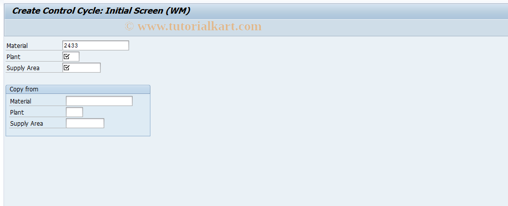 LPK1 SAP Tcode : Create Control Cycle for WM Transaction Code