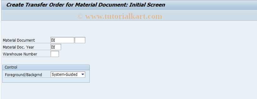 LT06 SAP Tcode : Create TO for Material Document Transaction Code