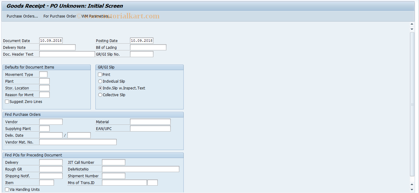 MB0A SAP Tcode : Post Goods Receipt for PO Transaction Code