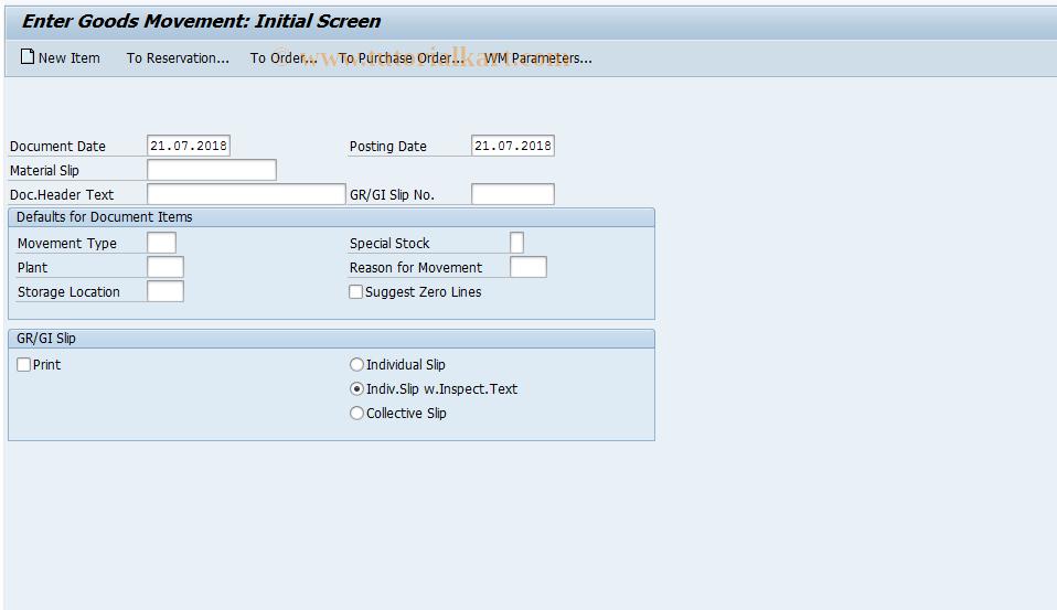 MB11 SAP Tcode : Goods Movement Transaction Code