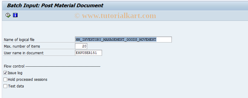 MBBM SAP Tcode : Batch Input: Post Material Document