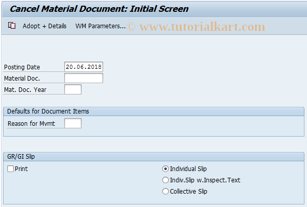 MBST SAP Tcode : Cancel Material Document Transaction Code