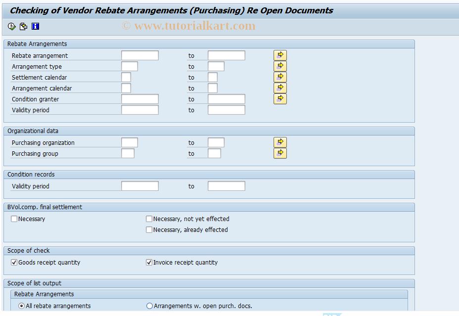 MEBB SAP Tcode : Check Open Documents , Vendor Reb  Arrs
