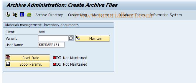 MIAR SAP Tcode : Archive Phys  Invoice Documents Transaction Code