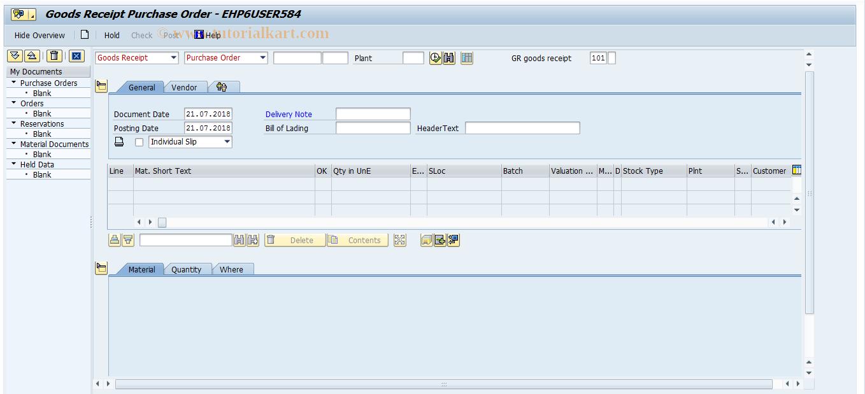 MIGO SAP Tcode : Goods Movement Transaction Code