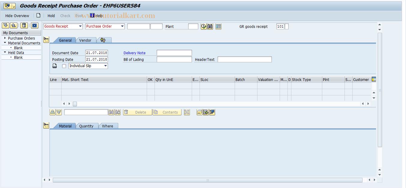 MIGO_GR SAP Tcode : Goods Movement Transaction Code