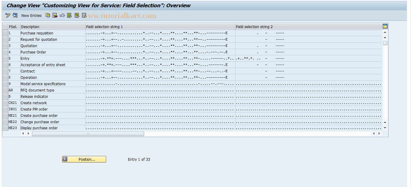 ML90 SAP Tcode : Field Selection for Services Transaction Code
