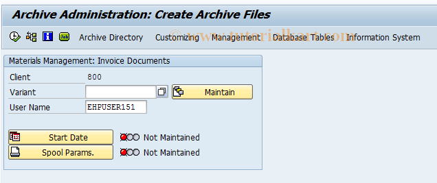 MRA1 SAP Tcode : Archive Invoice Documents Transaction Code