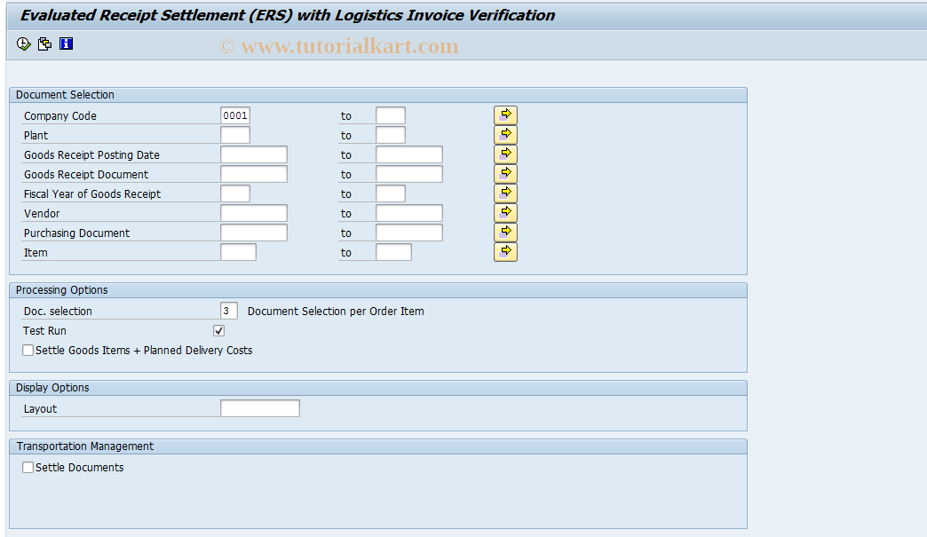 MRRL SAP Tcode : Evaluated Receipt Settlement Transaction Code