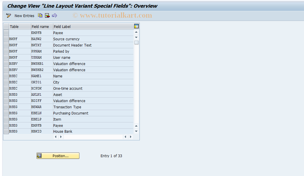 O7R3 SAP Tcode : Item Display Special Fields Transaction Code