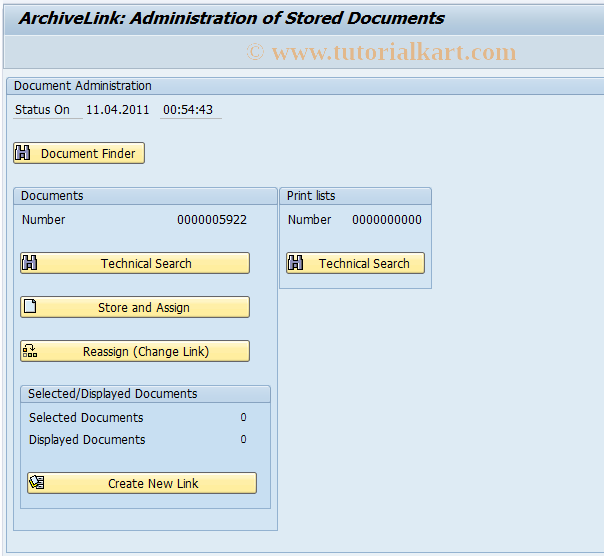 OAAD SAP Tcode : ArchiveLink Administration Documents