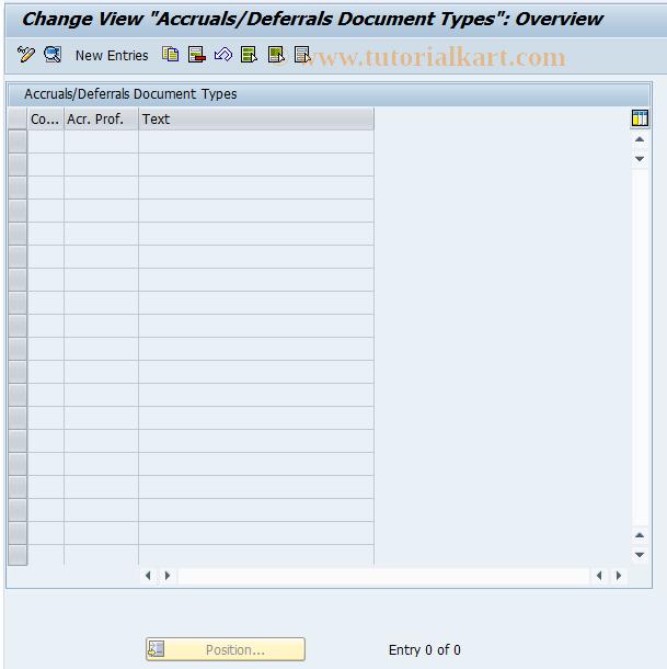 SAP TCode OACCR01 - Accruals/Deferrals Document Type Maintenance