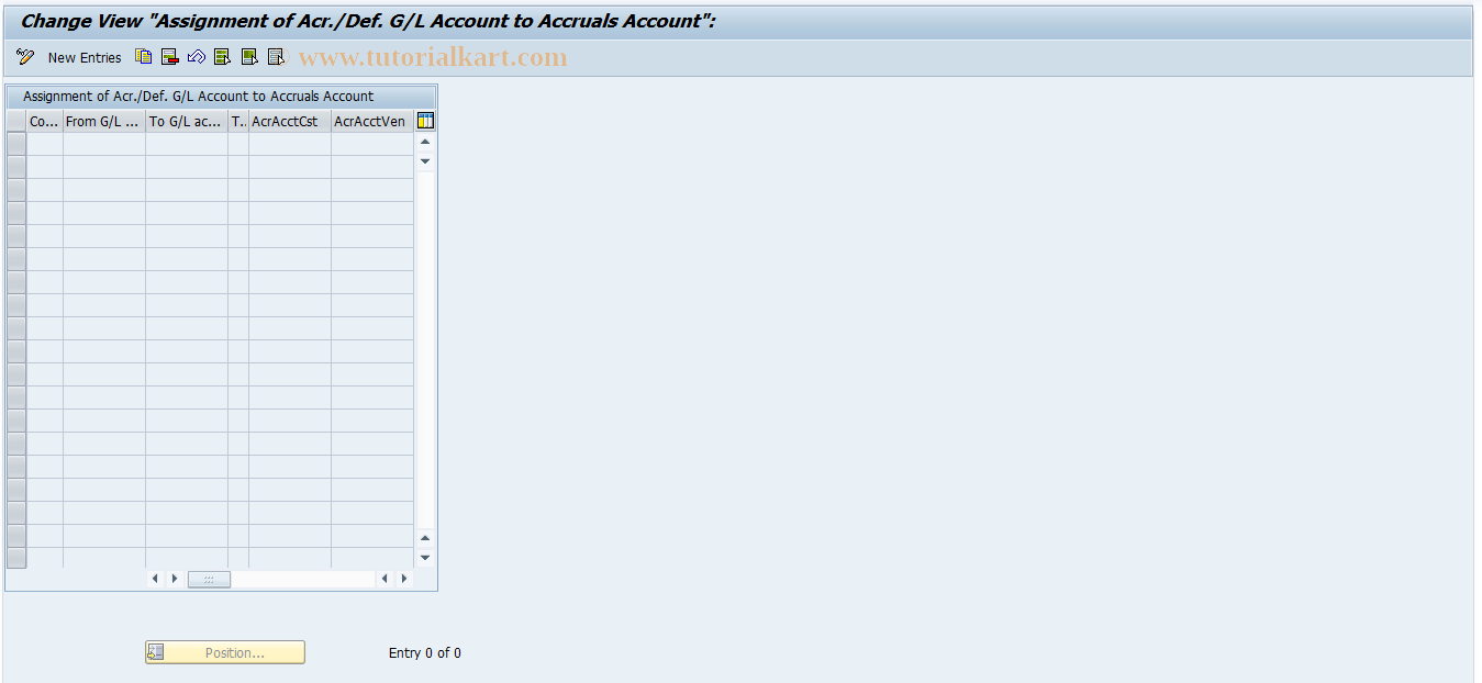 SAP TCode OACCR02 - G/L Account Determination for Acr./Definition