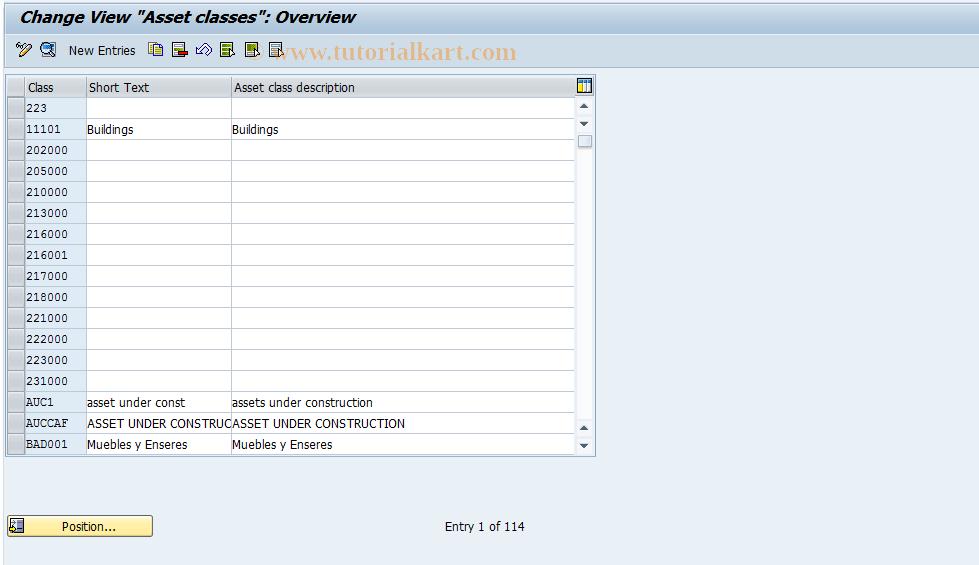 SAP TCode OAOA - FI-AA: Define asset classes